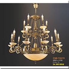 Đèn Chùm Nến Đồng VE1 CNĐ-1183/15 Ø900xH780