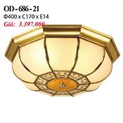 Đèn Áp Trần Đồng PT6 OD-686-21 Ø400xC170
