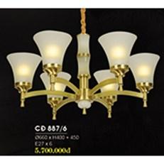 Đèn Chùm Đồng HP6 CĐ 887/6 Ø660xH400+450